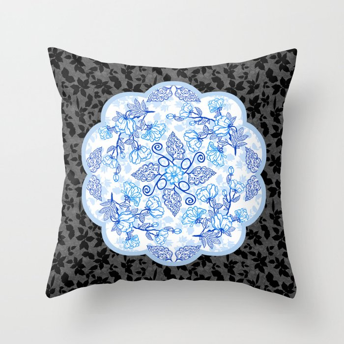 Peonies and Paisley on Black Throw Pillow