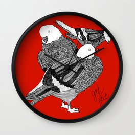 Red Pigeons Get Fat Wall Clock
