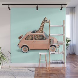 GIRAFFE CAR Wall Mural
