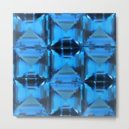 BLUE CRYSTAL GEMS PATTERN Metal Print