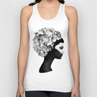 drawing Tank Tops featuring Marianna by Ruben Ireland