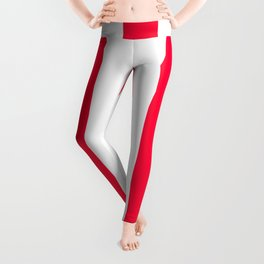 Carmine red - solid color - white vertical lines pattern Leggings
