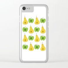 Apple and pear pattern Clear iPhone Case