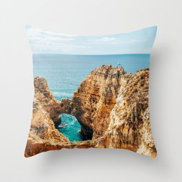 Ocean Landscape, Rocks And Cliffs, Lagos Bay Coast, Algarve Portugal,Wall Art, Poster Decor Throw Pillow