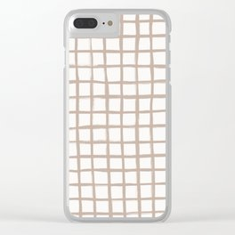 Strokes Grid - Nude on Off White Clear iPhone Case