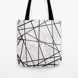 Geometrical black gold faux glitter white marble Tote Bag