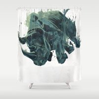 gravity Shower Curtains featuring Gravity by Philipp Banken