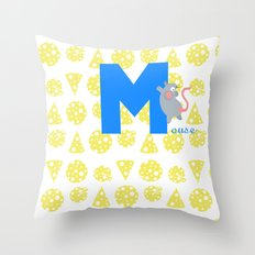 m for mouse Throw Pillow