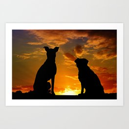 Dogs at Sunset Art Print