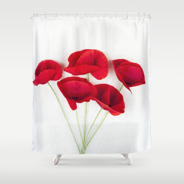 A Bunch Of Red Poppies Shower Curtain