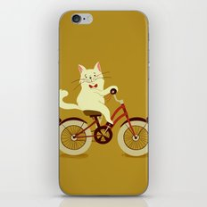 White cat on a bicycle iPhone & iPod Skin