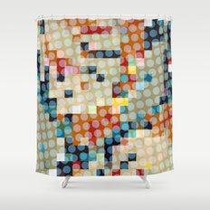 dots meet pixels Shower Curtain