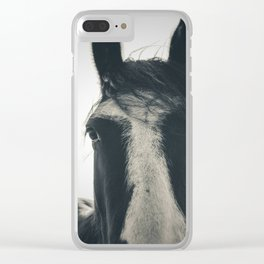 All Good Things are Wild and Free - horse photography sepia, inspirational quote, thoreau art Clear iPhone Case