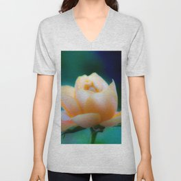 Dreamy Yellow Pinky Rose by CheyAnne Sexton Unisex V-Neck