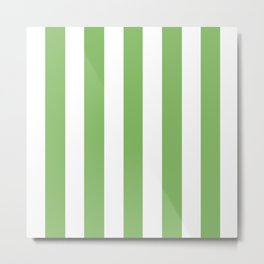 Dollar bill green -  solid color - white vertical lines pattern Metal Print