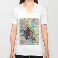 california V-neck T-shirts featuring California by Ursula Rodgers