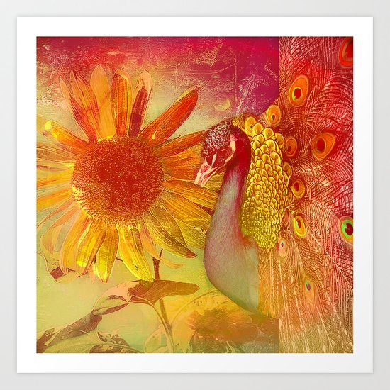 :: Sunflower and Ruebin the Royal Peacock ::  by Ganech Joe and Gale Storm Art Print