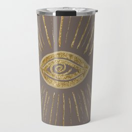 Evil Eye Gold on Brown #1 #drawing #decor #art #society6 Travel Mug