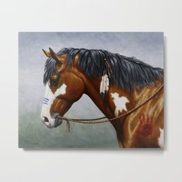 Bay Pinto Native American War Horse Metal Print