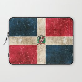 Vintage Aged and Scratched Dominican Flag Laptop Sleeve