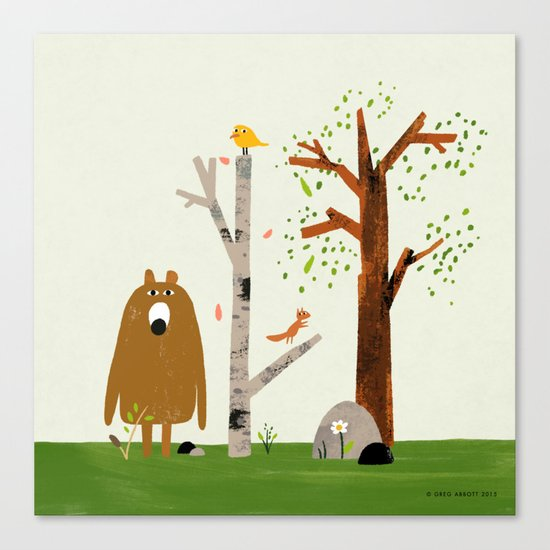 Bear, Bird and Squirrel in the Woods Canvas Print