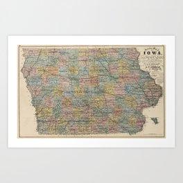 Vintage Map of Iowa (1875) Art Print