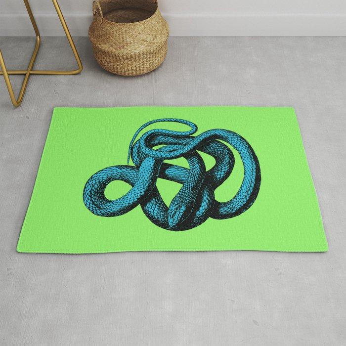 Snake Teal Turquoise Lime Green Rug