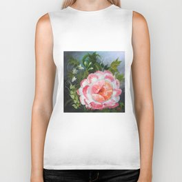 White and Crimson Poppy, Floral Painting Biker Tank