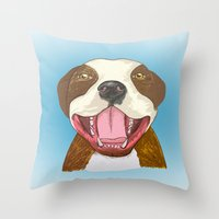 pit bull Throw Pillows featuring Pit Bull Pride by Kat Lyon