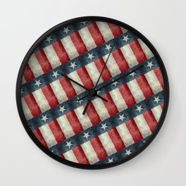 Texas State Flag Vintage Pattern Wall Clock