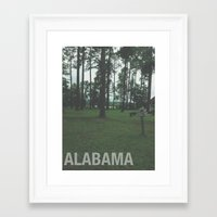 alabama Framed Art Prints featuring ALABAMA by Danielle B