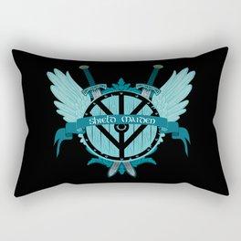 Shield Maiden Winged Teal Viking Shield Rectangular Pillow