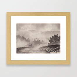 Adirondacks in the Mist in Borderless Framed Art Print