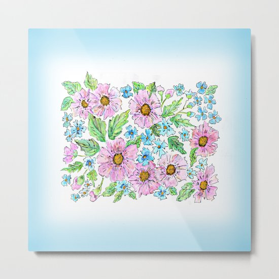 Colorful floral pattern . 1 Metal Print
