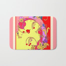 Red Hearts Gold Color Fantasy Scrolls & Flowers Ferns Art Pattern Bath Mat