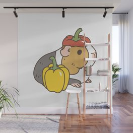 Bell Peppers and Guinea Pigs Pattern in White Background Wall Mural
