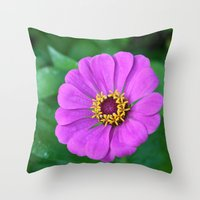 rileigh smirl Throw Pillows featuring Bright Flower by Rileigh Smirl
