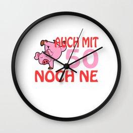 "A German Piggy Birthday Tee For Pig Lovers ""Auch Mit 50 Noch Ne Geile Sau"" T-shirt Animals Pork Meat Wall Clock"