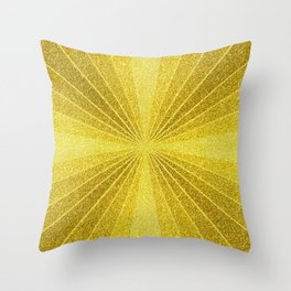 Geometric gold glitter mosaic, diagonal sun rays, gold abstract sparkles Throw Pillow