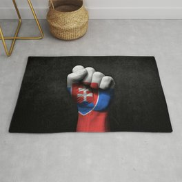 Slovakian Flag on a Raised Clenched Fist Rug