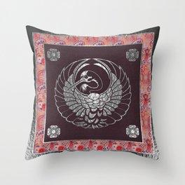 Japanese Swan Traditional 2 Motif Throw Pillow