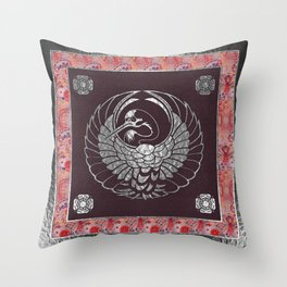 Japanese Swan Traditional 2 Motif Throw Pillow