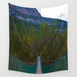 Suspension Bridge along the Berg Lake Trail in British Columbia, Canada Wall Tapestry