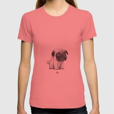 Pug Pug 01 Pomegranate LARGE Womens Fitted Tee