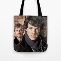 sherlock Tote Bags featuring Sherlock  by SB Art Productions