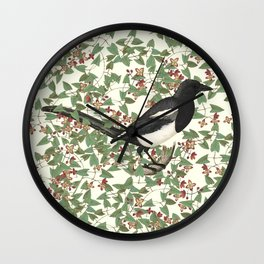 In the thicket - Magpie Wall Clock