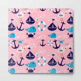Summer boat pink Metal Print