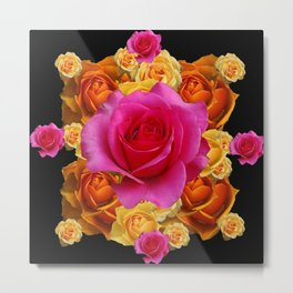 GOLD-YELLOW & PINK ROSES ON BLACK Metal Print
