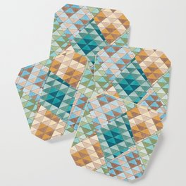 Triangle Patter No.15 Shifting Teal and Yellow Coaster