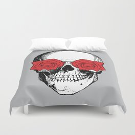 Skull and Roses | Grey and Red Duvet Cover